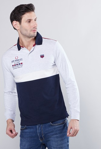 Cut and Sew Polo T-shirt with Long Sleeves