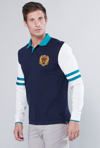 Logo Embroidered Polo T-shirt with Striped Long Sleeves