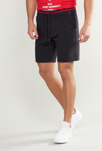 Plain Shorts with Pocket Detail and Drawstring
