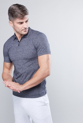Melange Polo Neck T-shirt with Short Sleeves
