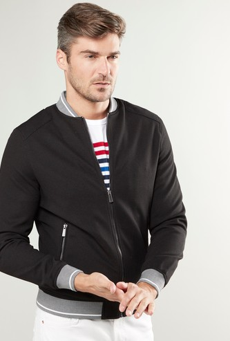 Contrast Collared Bomber Jacket with Long Sleeves and Zip Pockets