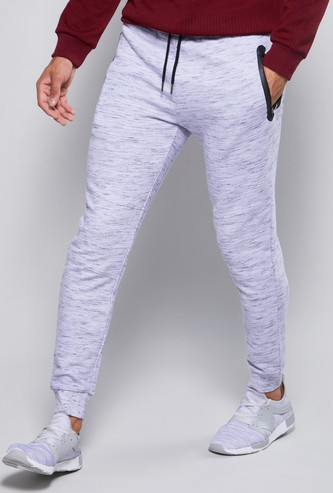 Full Length Textured Jog Pants with Pocket Detail and Drawstring