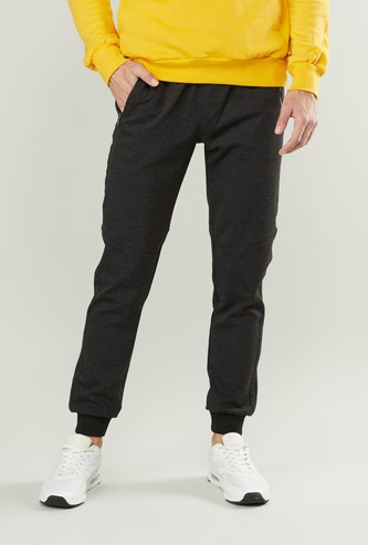 Slim Fit Plain Mid-Rise Jog Pants with Pocket Detail