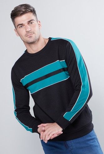 Panelled Sweatshirt with Round Neck and Long Sleeves