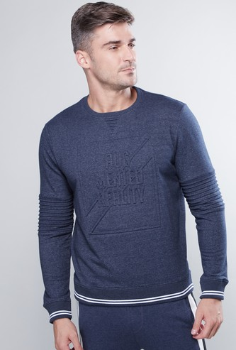 Embossed Sweatshirt with Round Neck and Long Sleeves