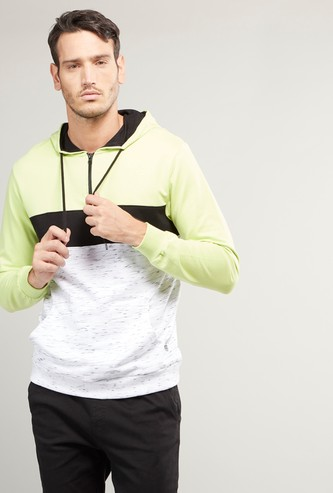 Panelled Hoodie with Long Sleeves and Kangaroo Pockets