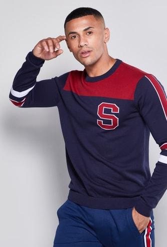 Colourblock Round Neck Sweatshirt with Long Sleeves