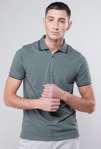 Melange Polo Neck T-shirt with Short Sleeves and Zip Closure