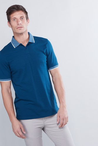 Tipping Detail T-shirt with Polo Neck and Short Sleeves