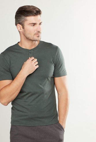 Textured Slim Fit T-shirt with Henley Neck and Short Sleeves