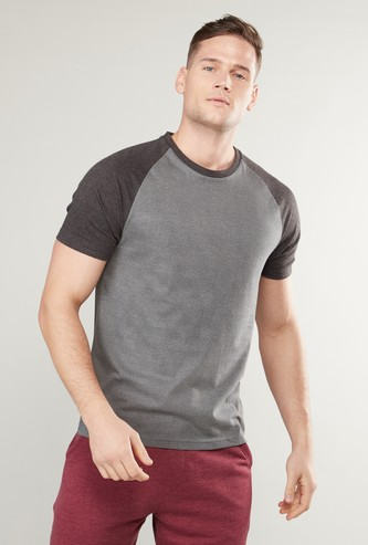Solid Round Neck T-shirt with Raglan Sleeves