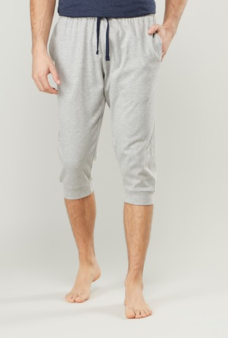 Plain 3/4 Jog Pants with Pocket Detail and Drawstring