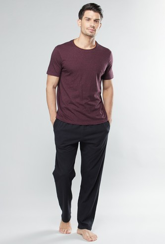Plain Short Sleeves T-shirt and Full Length Pyjama Set
