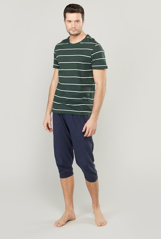 Striped T-shirt and Joggers with Drawstring Waistband