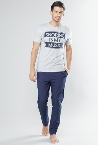 Printed T-shirt and Pyjamas Set