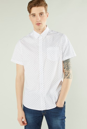 Printed Collared Shirt with Patch Pocket and Short Sleeves