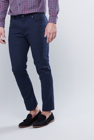 Slim Fit Full Length Pants with Pocket Detail