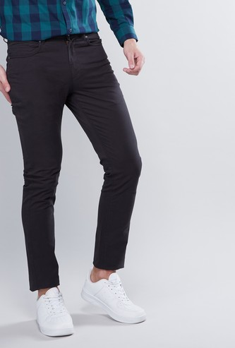 Solid Skinny Fit Trousers with Pockets