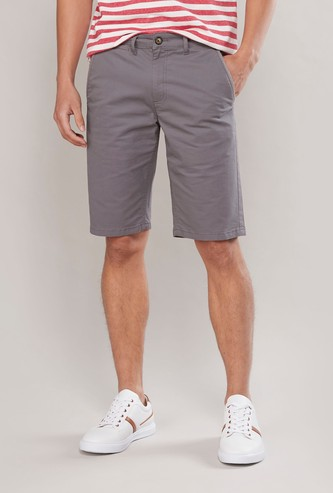Pocket Detail Chino Shorts with Button Closure