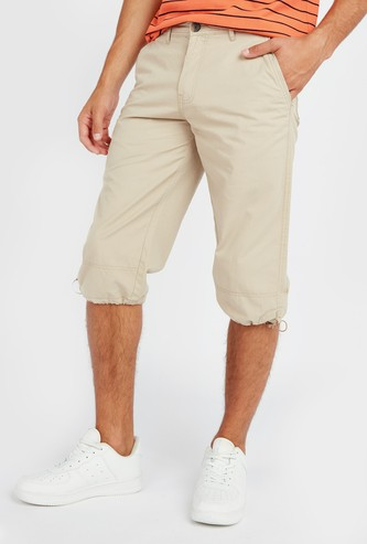 Solid Capris with Pockets and Button Closure