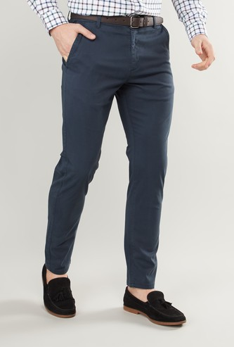 Solid Trousers with Pockets and Zip Closure