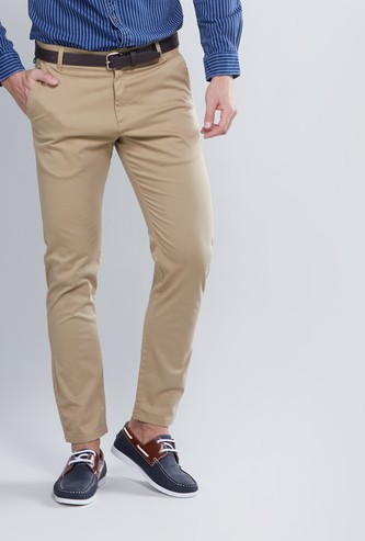 Plain Mid Waist Trousers with Belt Loops and Pocket Detail