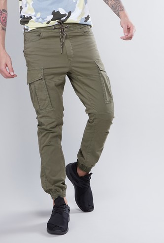 Cargo Pants with Pockets and Cuffed Hems
