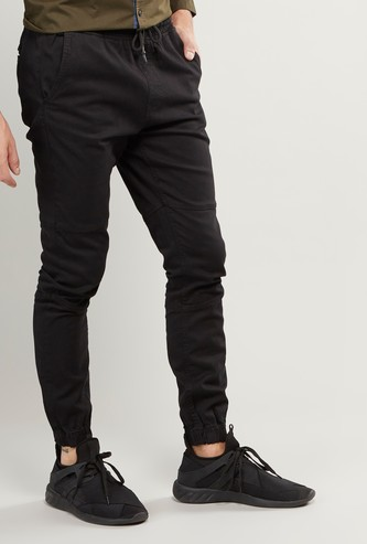 Full Length Plain Mid-Rise Jog Pants with Pocket Detail and Drawstring