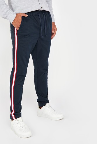Slim Fit Mid-Rise Pants with Drawstring Waistband