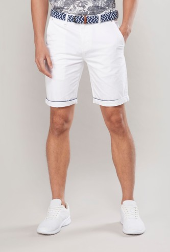 Solid Mid-Rise Knee Length Shorts with Pockets and Belt