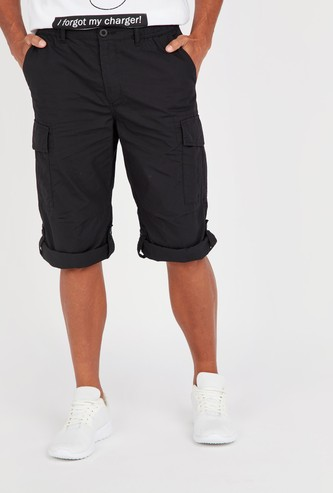 Plain Mid-Rise Cargo Shorts with Pocket Detail and Elasticised Waistband