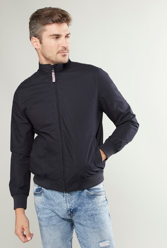 Plain Bomber Jacket with High Neck and Long Sleeves