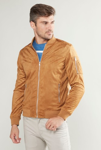 Textured Bomber Jacket with Long Sleeves and Zip Detail