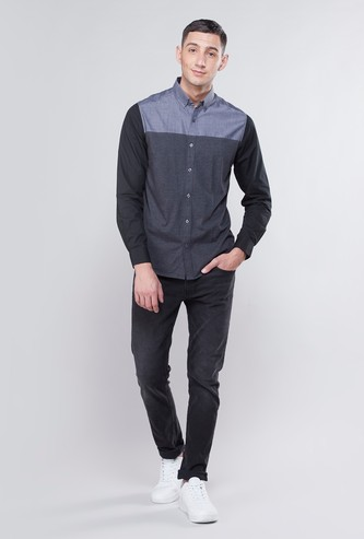 Colour Block Collared Shirt with Long Sleeves