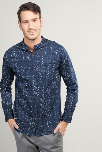 Slim Fit Printed Shirt with Mandarin Collar and Long Sleeves