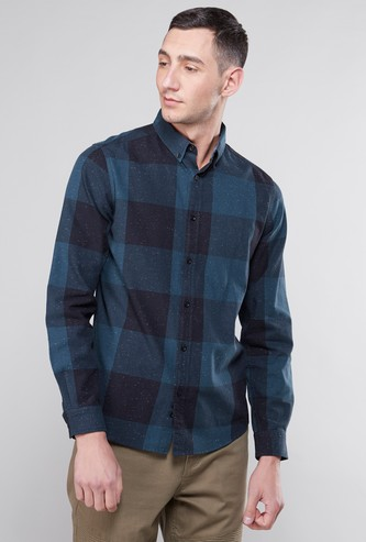 Checked Collared Shirt with Long Sleeves