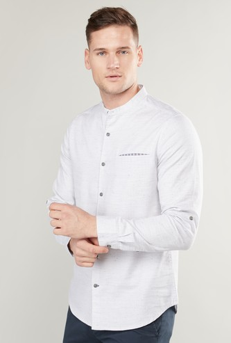 Pocket Detail Shirt with Mandarin Collar and Long Sleeves