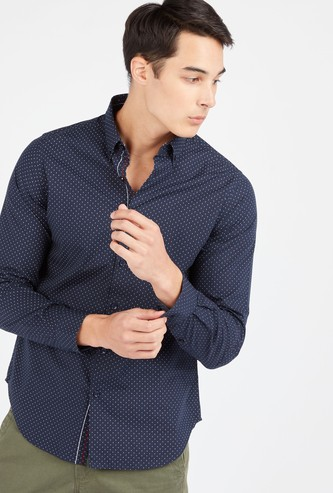 Slim Fit Printed Shirt with Spread Collar and Long Sleeves