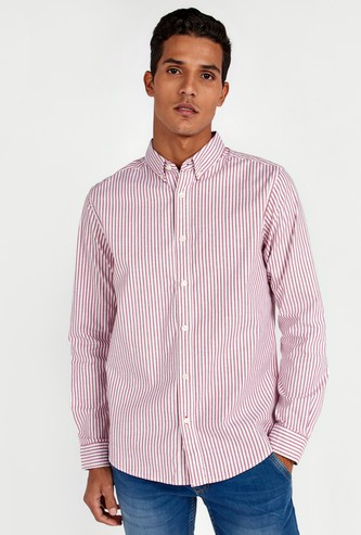 Slim Fit Striped Oxford Shirt with Long Sleeves