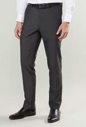 Slim Fit Plain Formal Trousers with Belt Loops and Pocket Detail