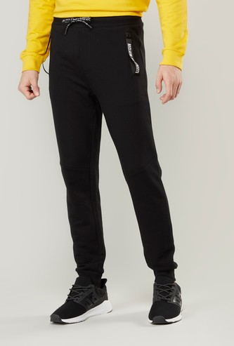 Slim Fit Full Length Plain Mid-Rise Jog Pants with Pocket Detail