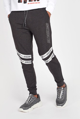 Slim Fit Printed Mid-Rise Jog Pants with Elasticised Waistband