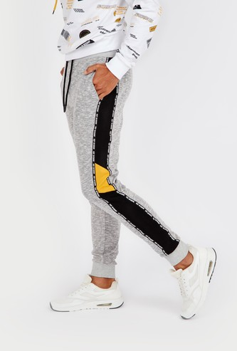 Slim Fit Tape Detail Mid-Rise Jog Pants with Drawstring