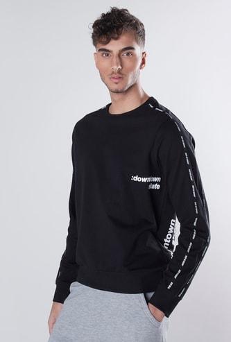 Slim Fit Typographic Print Sweatshirt with Long Sleeves