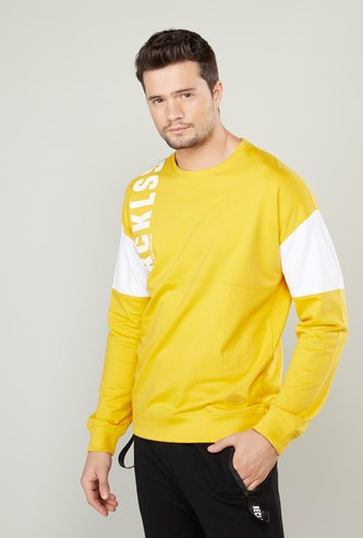 Printed Sweatshirt with Round Neck and Drop Shoulder Sleeves