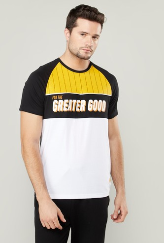 Slim Fit Printed T-shirt with Round Neck and Raglan Sleeves