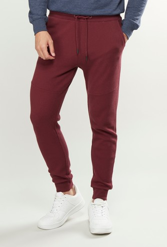 Slim Fit Full Length Plain Jog Pants with Pocket Detail