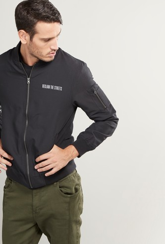 Slogan Printed Bomber Jacket with Long Sleeves and Zip Closure