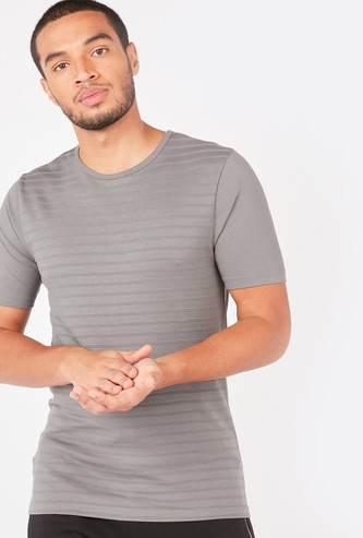Slim Fit Textured T-shirt with Short Sleeves