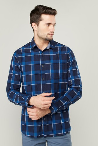 Slim Fit Chequered Shirt with Long Sleeves and Chest Pocket
